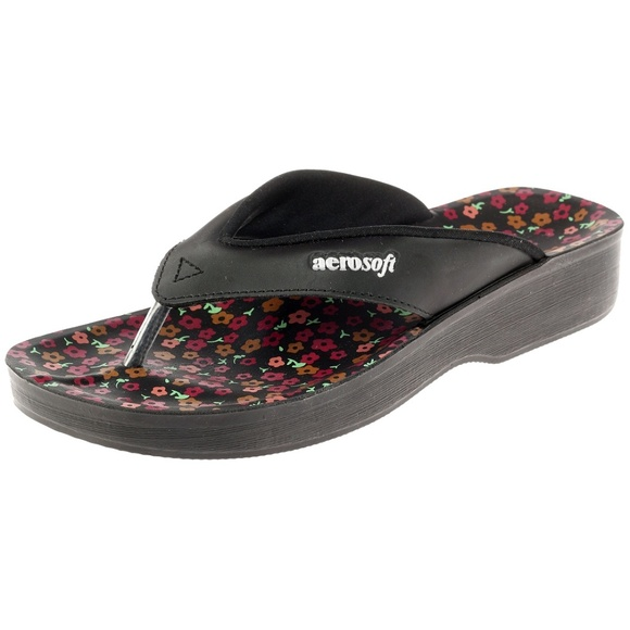 73b6d1bb2ee Aerosoft Black Comfortable Footwear Sandals Flower